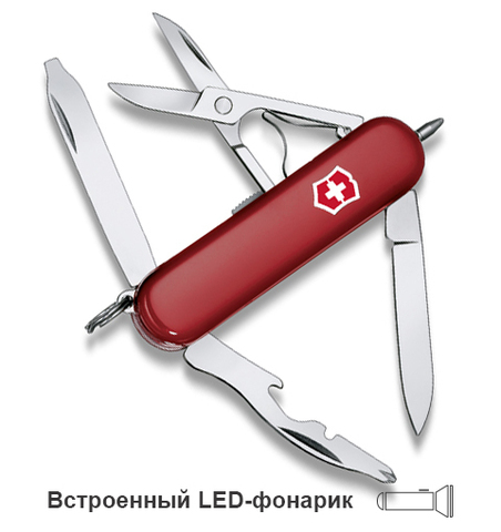 Нож-брелок Victorinox Classic Midnite Manager, 58 мм, 10 функций, красный123
