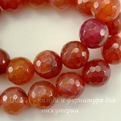 Бусина Агат Огненный, шарик с огранкой, цвет - розовато-коричневый, 10 мм, нить