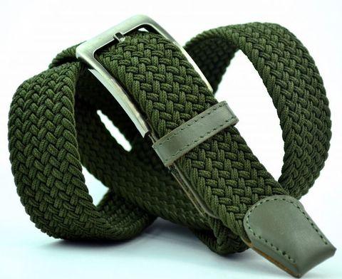 Ремень-резинка мужской текстильный зелёный 35 мм 35Stropa-R-009