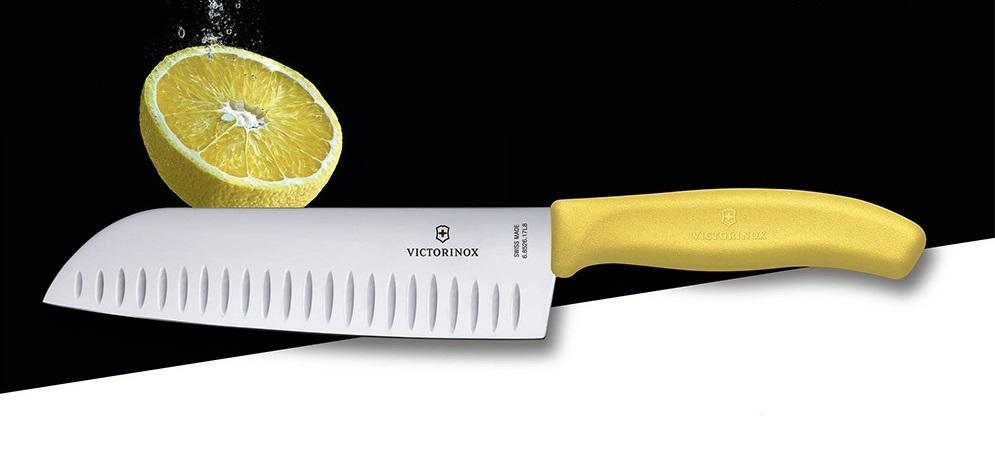 Нож Victorinox Santoku, жёлтый, 17 см (6.8526.17L8B) - Wenger-Victorinox.Ru