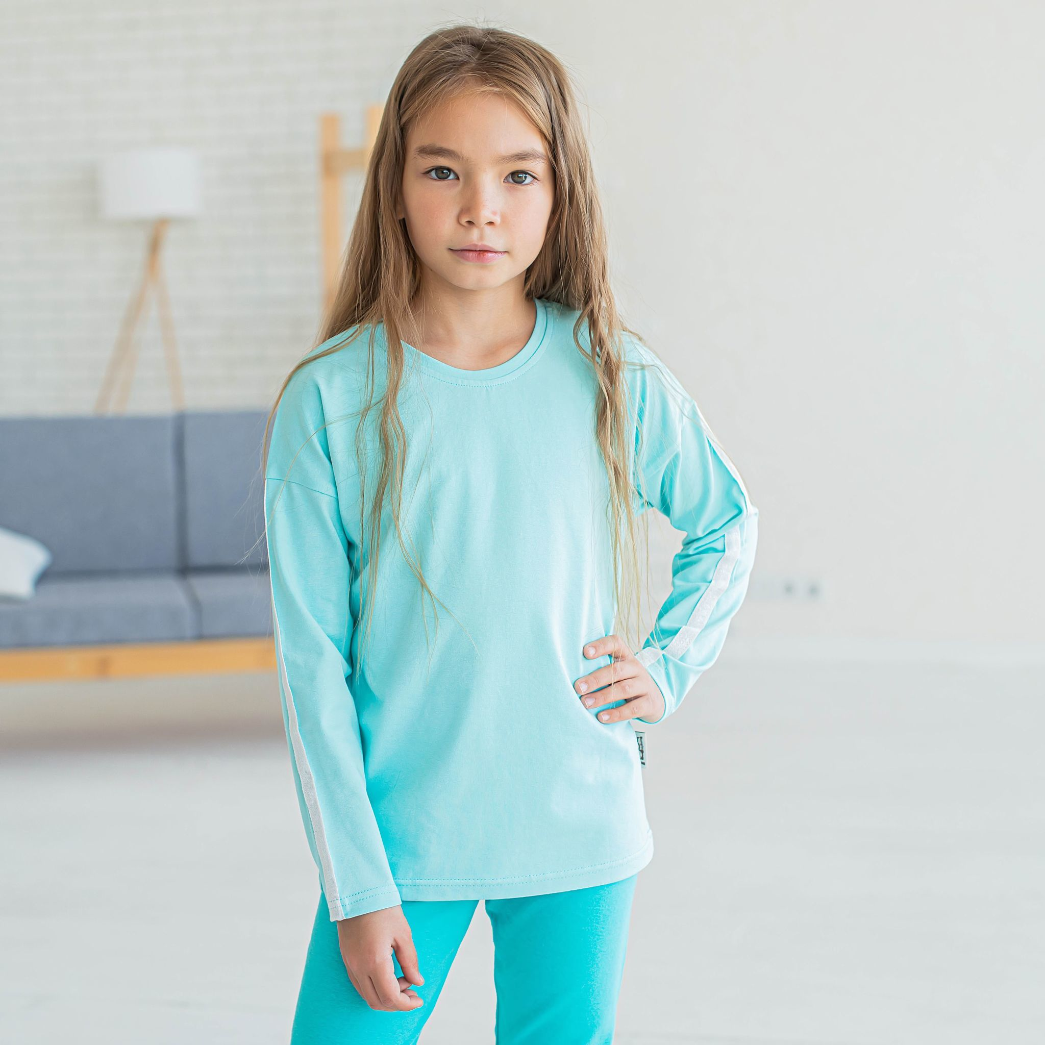 Long-sleeved t-shirt with stripes for teens - Mint