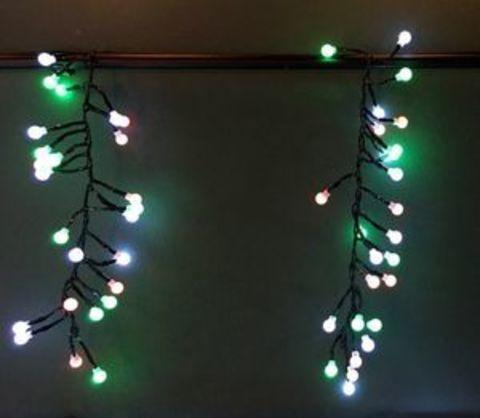 Декор Гирлянда занавес Гроздь Ягод 130 ламп 8 функций таймер мультиколор 120 см