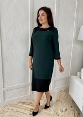 Марія. Комбінована сукня великих розмірів. Смарагд