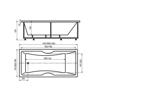 Ванна акриловая Aquatek Феникс 170х75см. на каркасе и сливом-переливом. схема