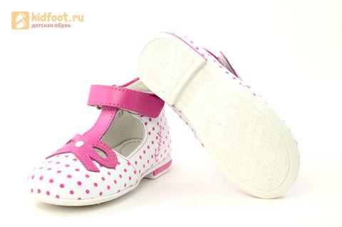 Детские туфли Котофей 232059-22 из натуральной кожи, для девочки, бело-розовые. Изображение 11 из 16.