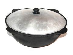 Печь с дымоходом усиленная + казан 10л узбекский, Шумовка и половник!