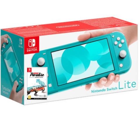 Игровая консоль Nintendo Switch Lite (бирюзовый) + диск Burnout Paradise Remastered