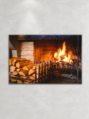 Картина на стекле/ Картина на стену/ Интерьерная/ Дрова у камина, 60х40см