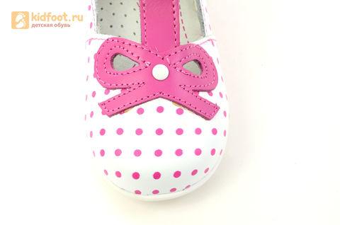 Детские туфли Котофей 232059-22 из натуральной кожи, для девочки, бело-розовые. Изображение 12 из 16.