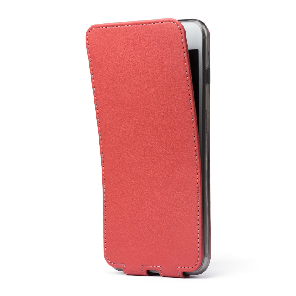 Чехол для iPhone 7 Plus из натуральной кожи теленка, кораллового цвета