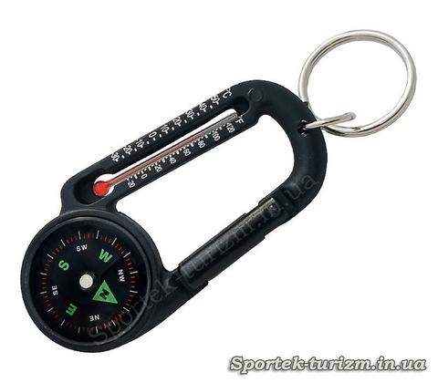 Брелок-компас з термометром та карабіном