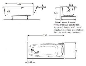 Акриловая ванна Roca Sureste 150x70 ZRU9302778