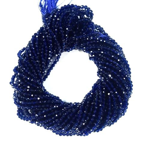 Бусины шпинель (имитация) граненая 2 мм цвет темно-синий цена за 185 бусин (~37 см)