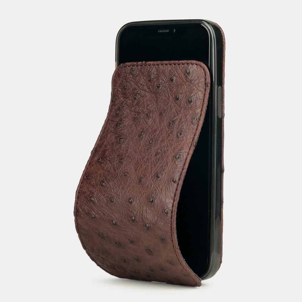 Чехол для iPhone 12/12Pro из натуральной кожи страуса, бодового цвета