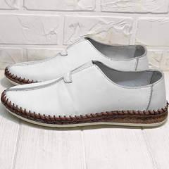 Мужские туфли слипоны белые smart casual летние Luciano Bellini 91724-S-304 All White.