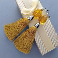 серьги кисти жёлтые с янтарём