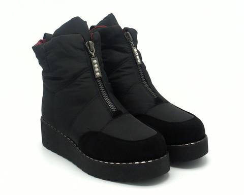 Черные ботинки-дутики на контрастной молнии