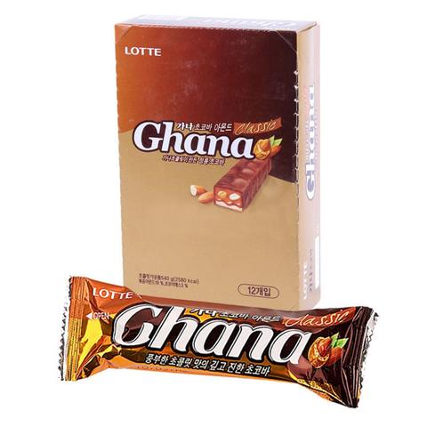Шоколадный батончик Lotte Ghana с миндалем 45 гр