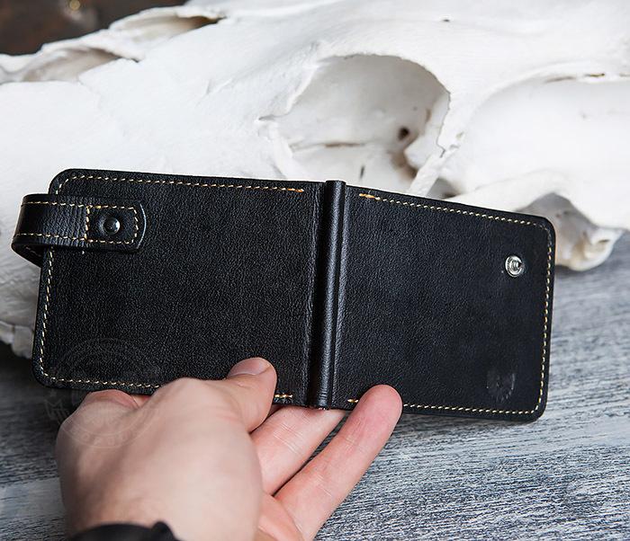 WB115-1 Кошелек из гладкой кожи на застежке с зажимом для денег. «Boroda Design» фото 05