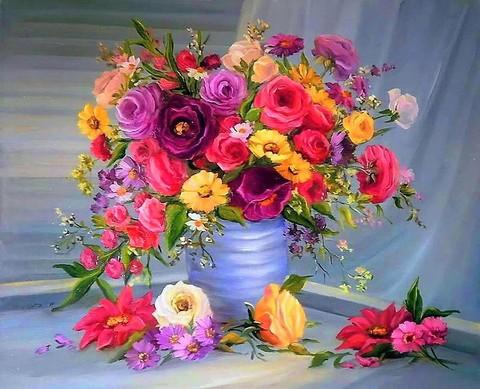 Алмазная Мозаика + Багет 40x50 Яркий разноцветный букет