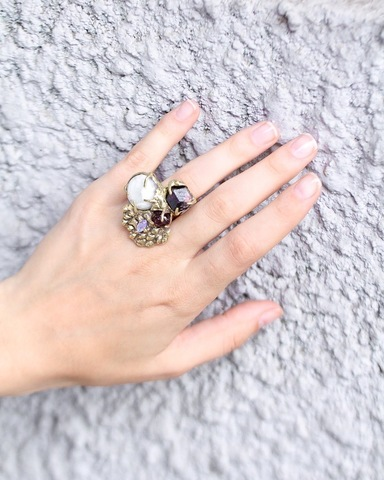 Кольцо с кварцем, гранатом, фианитом и турмалином