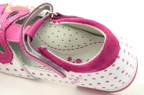 Детские туфли Котофей 232059-22 из натуральной кожи, для девочки, бело-розовые. Изображение 16 из 16.