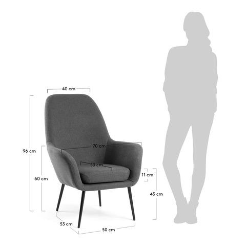 Кресло Valeria темно-серое