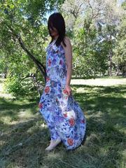 Сарафан для беременных флора бело-розовый-голубой