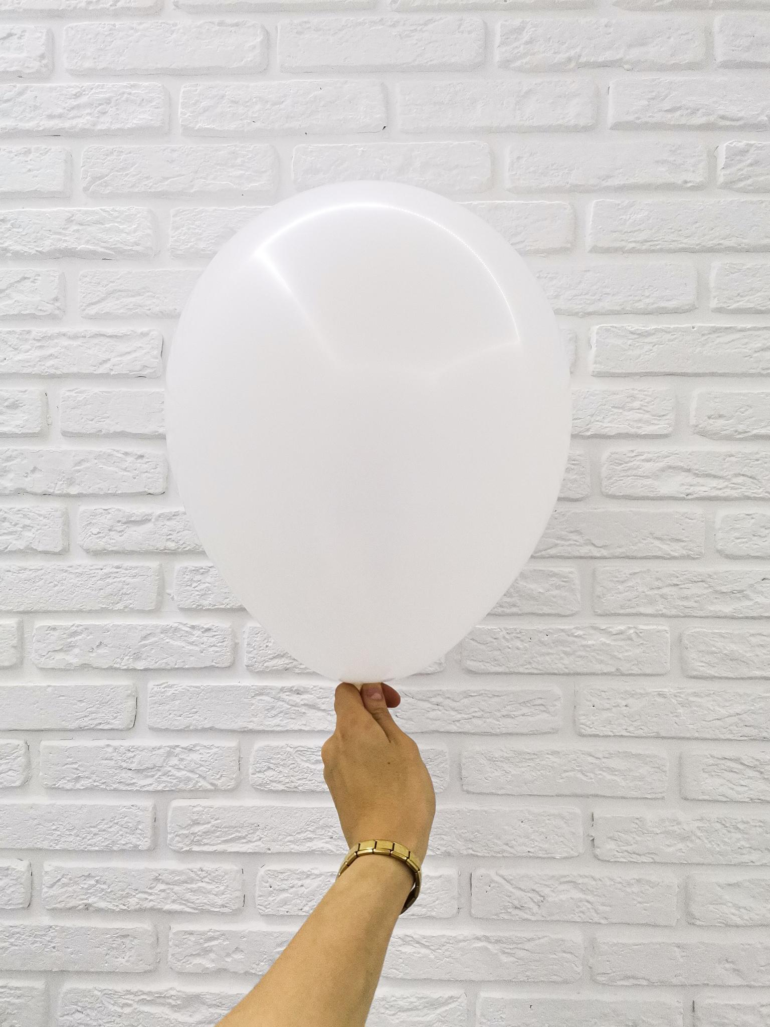 №1 Белый Гелиевый шар пастель 30см с обработкой
