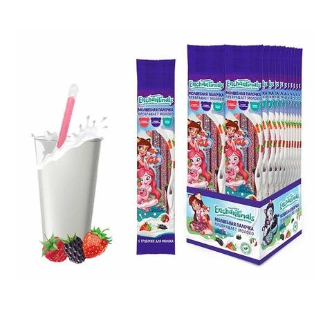 ENCHANTIMALS трубочки для молока 5шт. (лесные ягоды, ежевика со сливками, клубника со сливками), 1кор*6бл*24 шт. 30гр