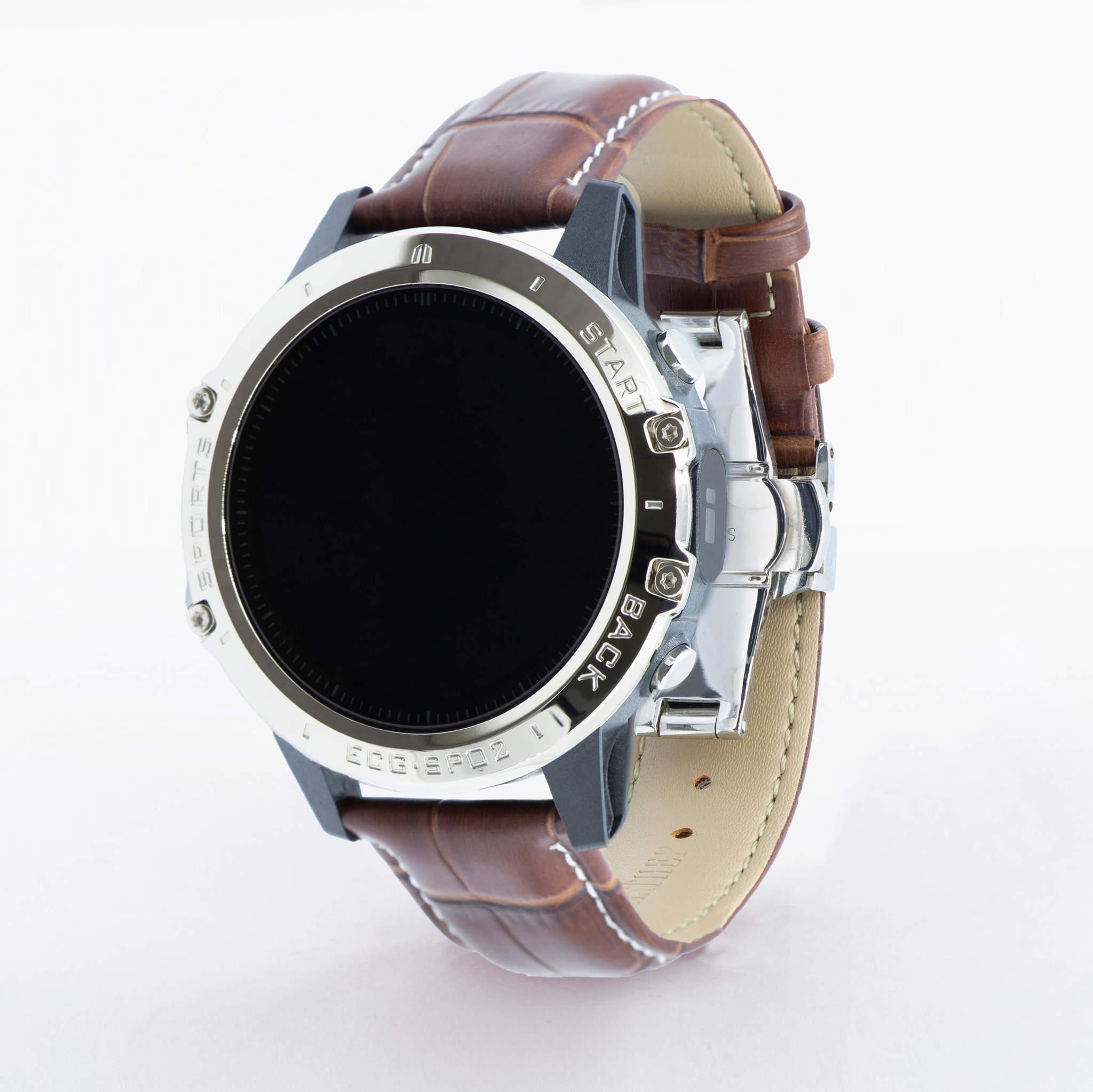 Профессиональные часы здоровья с измерением кислорода (сатурации), давления, снятием ЭКГ и круглосуточным мониторингом пульса Dr.Hofner DH50 (глянцево-коричневый)
