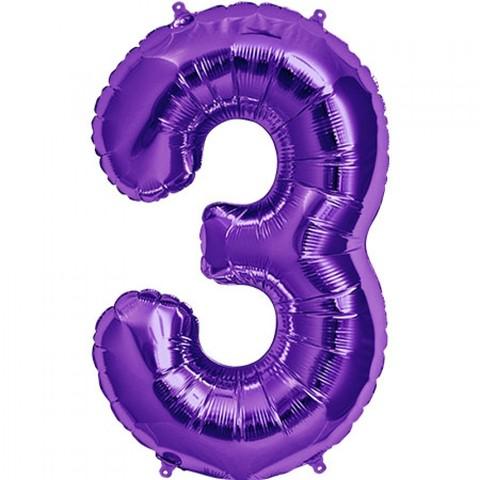 Цифра 3  пурпурный