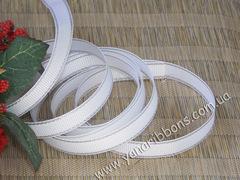 Лента репсовая Белая с люрексовой каймой 9 мм (намотка 10 м)