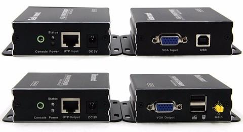 VGA Удлинитель Extender на 300м + USB по витой паре RJ45 категории Cat 5е/6