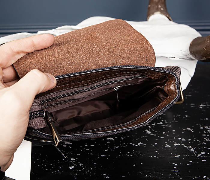 BAG561-2 Небольшая сумка на плечо из ткани и кожи фото 07