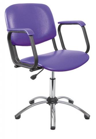Парикмахерское кресло КОНТАКТ хромированный газ-лифт, пятилучье хром на подпятниках