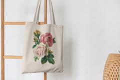 Сумка-шоппер с принтом Цветы (Розы) бежевая 0010