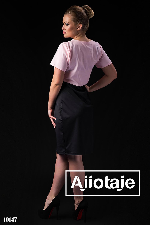 Платье миди с черной высокой юбкой