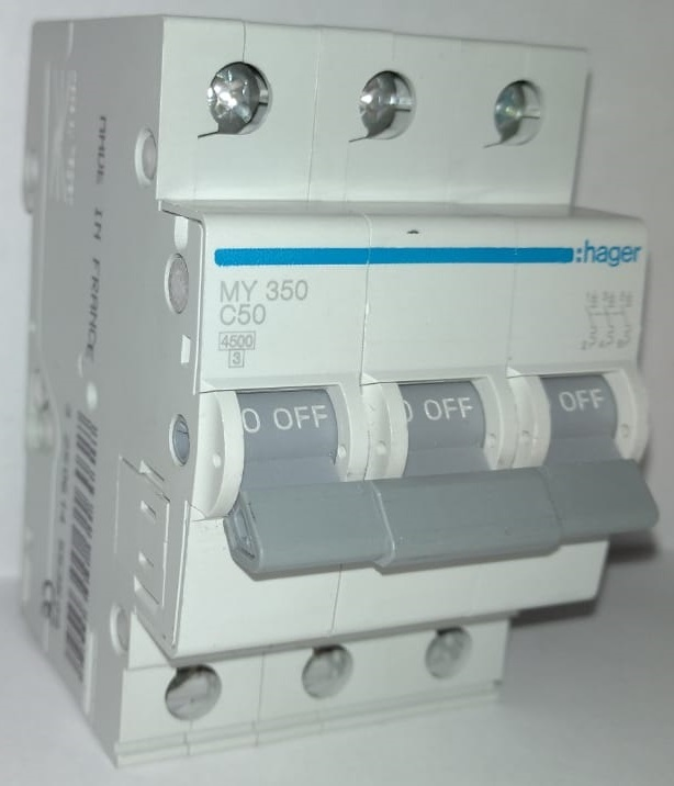 арт. MY350; Автоматический выключатель 3P 4,5kA С-50A 3M