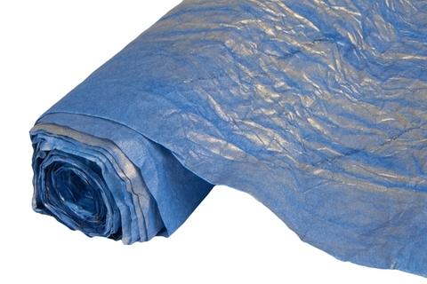 Бумага жатая эколюкс 70см х 5м синяя/золото 06G