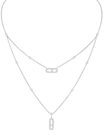 94098- Двойное колье Move из серебра с двигающимися цирконами