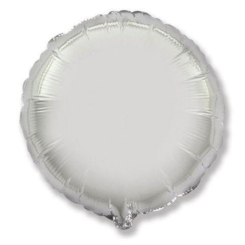 Шар круг 82 см серебро