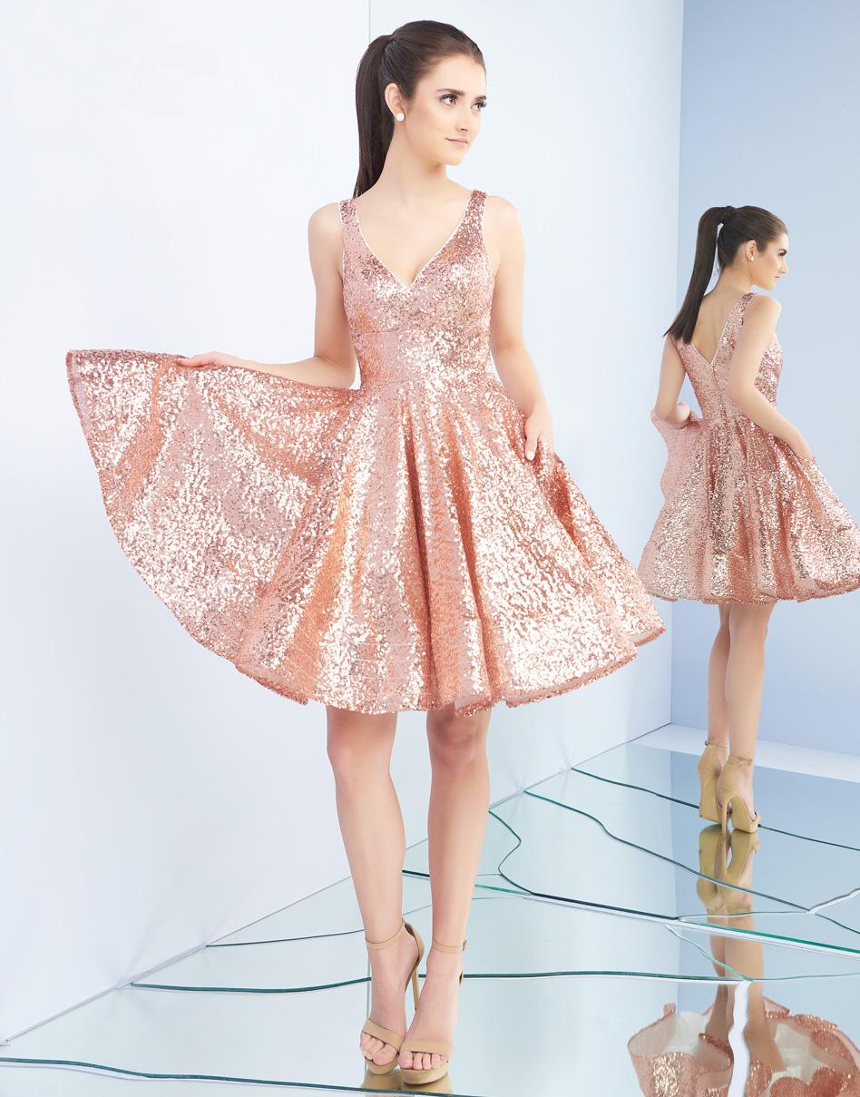 Короткое платье в золотом цвете Mac Duggal 48428