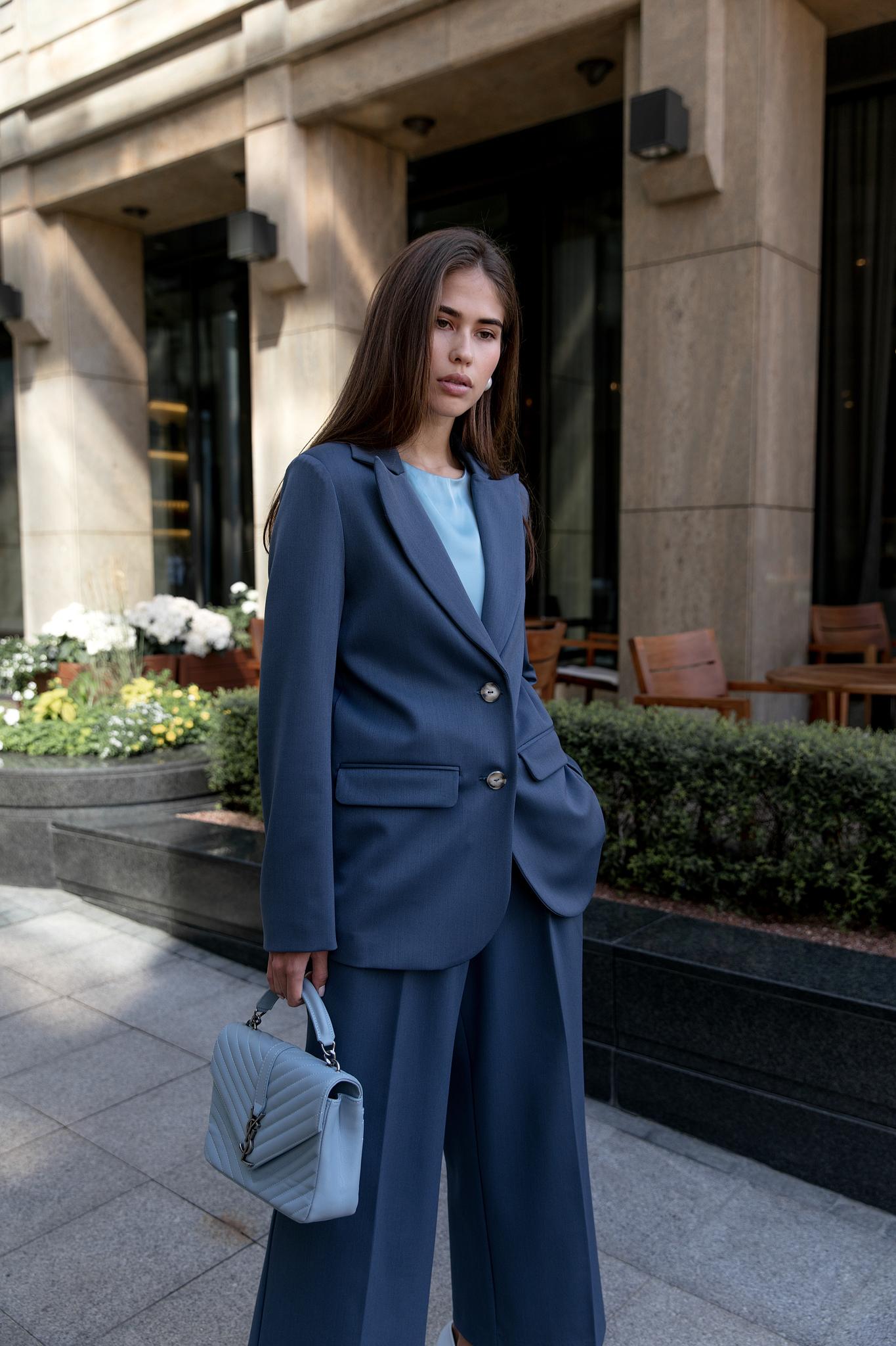 Пиджак прямой однобортный (серо-синий)