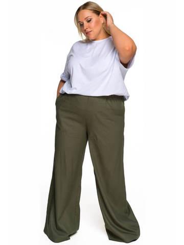 Широкие брюки изо льна хаки