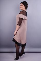 Лікара. Жіноча сукня плюс сайз. Бежевий.
