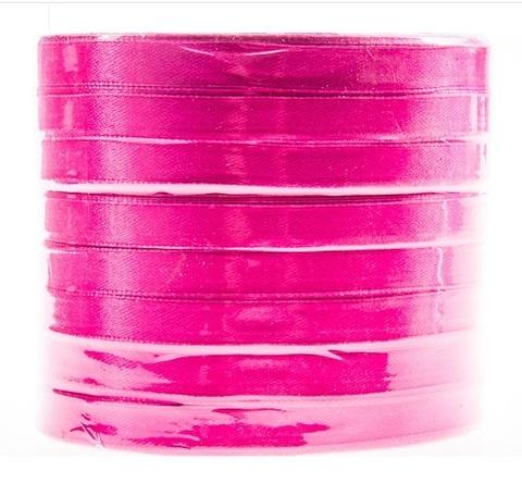 Лента атласная (размер: 10 мм х 50 ярд) Цвет: темно-розовая