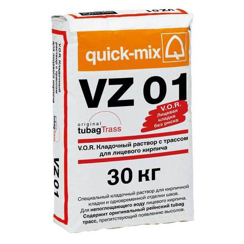 Quick-Mix VZ 01. P, светло-коричневый, мешок 30 кг - Кладочный раствор с трассом для лицевого кирпича