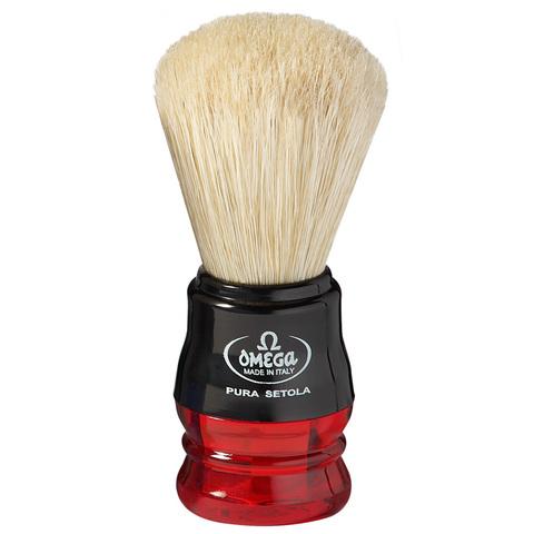Помазок для бритья Omega натуральный кабан, красный 10777