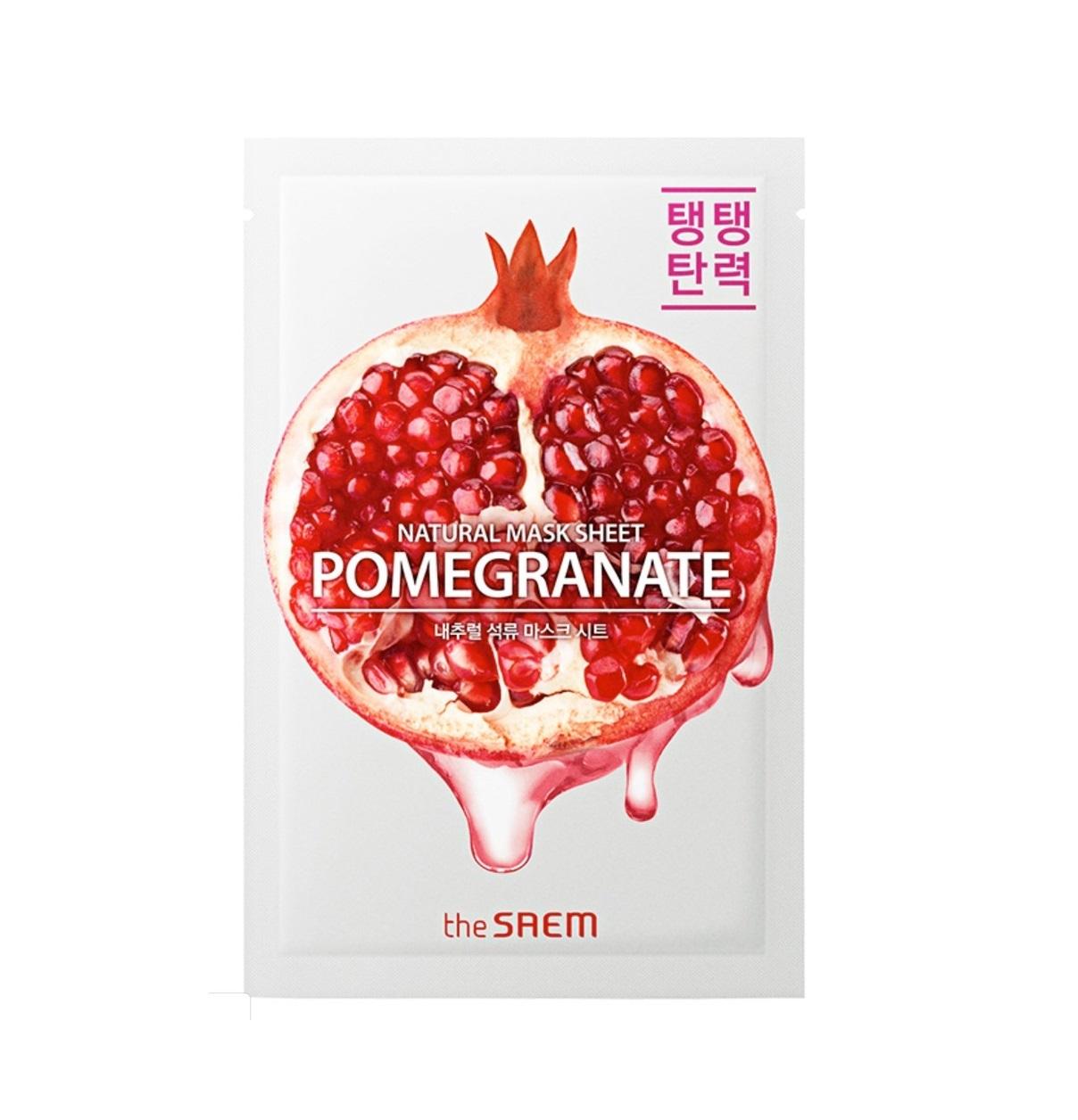the SAEM Маска тканевая для лица с экстрактом граната the SAEM Natural Pomegranate Mask Sheet 21 мл 1-3.jpg